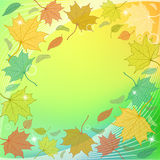 Autumn Background with fallen leaves and sparkles. Autumn colorful background with hand drawn fallen leaves, stripes, sparkles and blank space for a text. Vector Royalty Free Stock Image