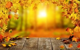 Autumn background with falling leaves and empty wooden table. Ideal for product placement or free space for text. Seasonal abstract vivid colored background stock images