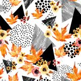 Hand drawn falling leaf, doodle, water color, scribble textures for fall design. Royalty Free Stock Photo