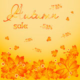 Autumn background with falling maple leaves Royalty Free Stock Photos