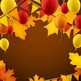 Autumn background with flags and balloons. Festive autumn background with leaves, balloons and flags. Vector illustration Stock Images
