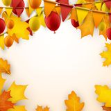 Autumn background with flags and balloons. Festive autumn background with leaves, balloons and flags. Vector illustration Stock Image
