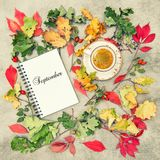 Autumn background flat lay Notebook coffee September vintage Royalty Free Stock Images