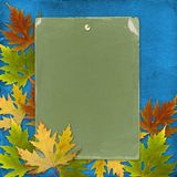 Autumn background with foliage and grunge paper Royalty Free Stock Images
