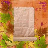 Autumn background with foliage and grunge papers Stock Photos