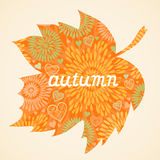 Autumn background in the form of a maple leaf. Stock Photography