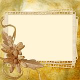 Autumn  background with frame and flowers Stock Image