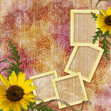 Autumn background with frames Stock Photography
