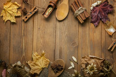 Autumn background with fruits and spices with dried flowers plac Stock Photos