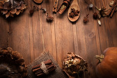 Autumn background with fruits and spices Royalty Free Stock Photography