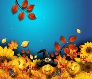 Autumn Background With Halloween Pumpkins illustration libre de droits