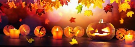 Autumn Background With Halloween Pumpkins vector illustration