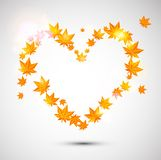 Autumn background. Heart form. Stock Photos