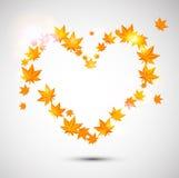 Autumn background. Heart form. Stock Photos