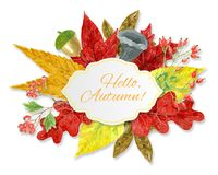 Watercolor autumn background Stock Images