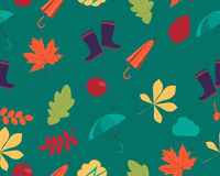Autumn background. Leaves and accessories. Vector seamless pattern Stock Images