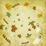 Autumn background with leaves and bird feathers. A whirlwind transports in circle feathers and leaves on a floral grunge background vector illustration