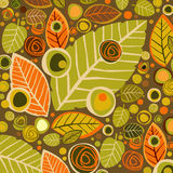 Autumn background with leaves and flower Stock Photos