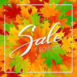Autumn background with leaves and lettering Sale stock illustration