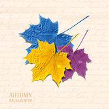 Autumn background with leaves. Maple in yellow, blue and purple. Writen text on background. Vector illustration. Eps 10 royalty free illustration