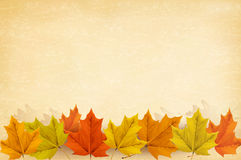 Autumn background with leaves and old paper. Royalty Free Stock Photo