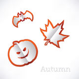 Autumn background with leaves, pumpkin and bat origami Stock Photography