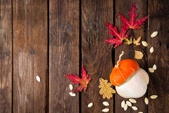 Autumn background with leaves and pumpkins, thanksgiving and halloween card Royalty Free Stock Images