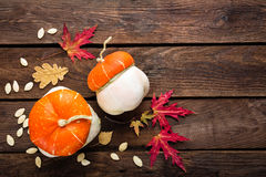 Autumn background with leaves and pumpkins, thanksgiving and halloween card Stock Photo