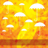 Autumn background with leaves and umbrella Stock Photography