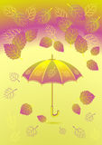 Autumn background with leaves umbrella Royalty Free Stock Photo