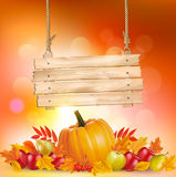 Autumn background with leaves and wooden sign. Vector Royalty Free Stock Photos