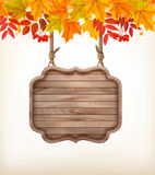 Autumn background with leaves. and wooden sign. Royalty Free Stock Photo