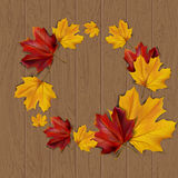 Autumn background. With autumn leaves on wooden surface,  illustration Royalty Free Stock Photography