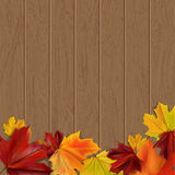 Autumn background. With autumn leaves on wooden surface,  illustration Royalty Free Stock Photos