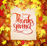 Autumn background with lettering Happy Thanksgiving Stock Photography