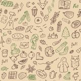 Autumn background. light brown seamless pattern with doodle pie, pumpkin, book, apple, checkered. Hand drawn vector. Texture stock illustration
