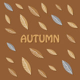 Autumn background with light and dark brown stylized leaves Stock Photos