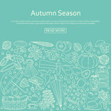 Autumn background made of many line icons. Stock Image