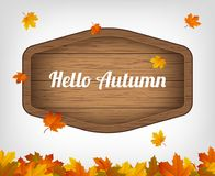 Autumn background with maple leaves and wooden sign. Vector. Illustration Stock Photo