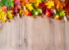 Autumn background. Maple varicolored autumn leaves on the wooden background stock photography