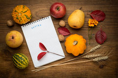 Autumn background with notebook, agriculture Stock Photos