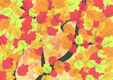 Autumn background with oak leaves. Flat vector illustration