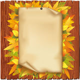 Autumn background with old paper and yellow leaves. Autumn background. Old paper and yellow leaves on wooden board  over white Stock Images