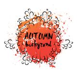 Autumn Background Orange Paint Splash sur style grunge de fond blanc le rétro Images libres de droits