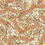 Autumn background. Orange seamless pattern with doodle pie, pumpkin, book, apple, checkered. Hand drawn vector. Texture Royalty Free Stock Image