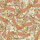 Autumn background. Orange seamless pattern with doodle pie, pumpkin, book, apple, checkered. Hand drawn vector. Texture vector illustration