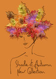 Autumn background with outline portrait of girl Stock Images