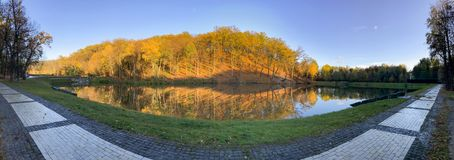 Panoramic view of calm lake and trees in the park stock photo