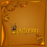 Autumn background with pencil holder Royalty Free Stock Image