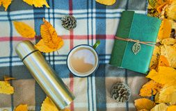 Autumn background, plaid on which there is a thermos, a mug with coffee, notebook, and yellow leaves Stock Photo